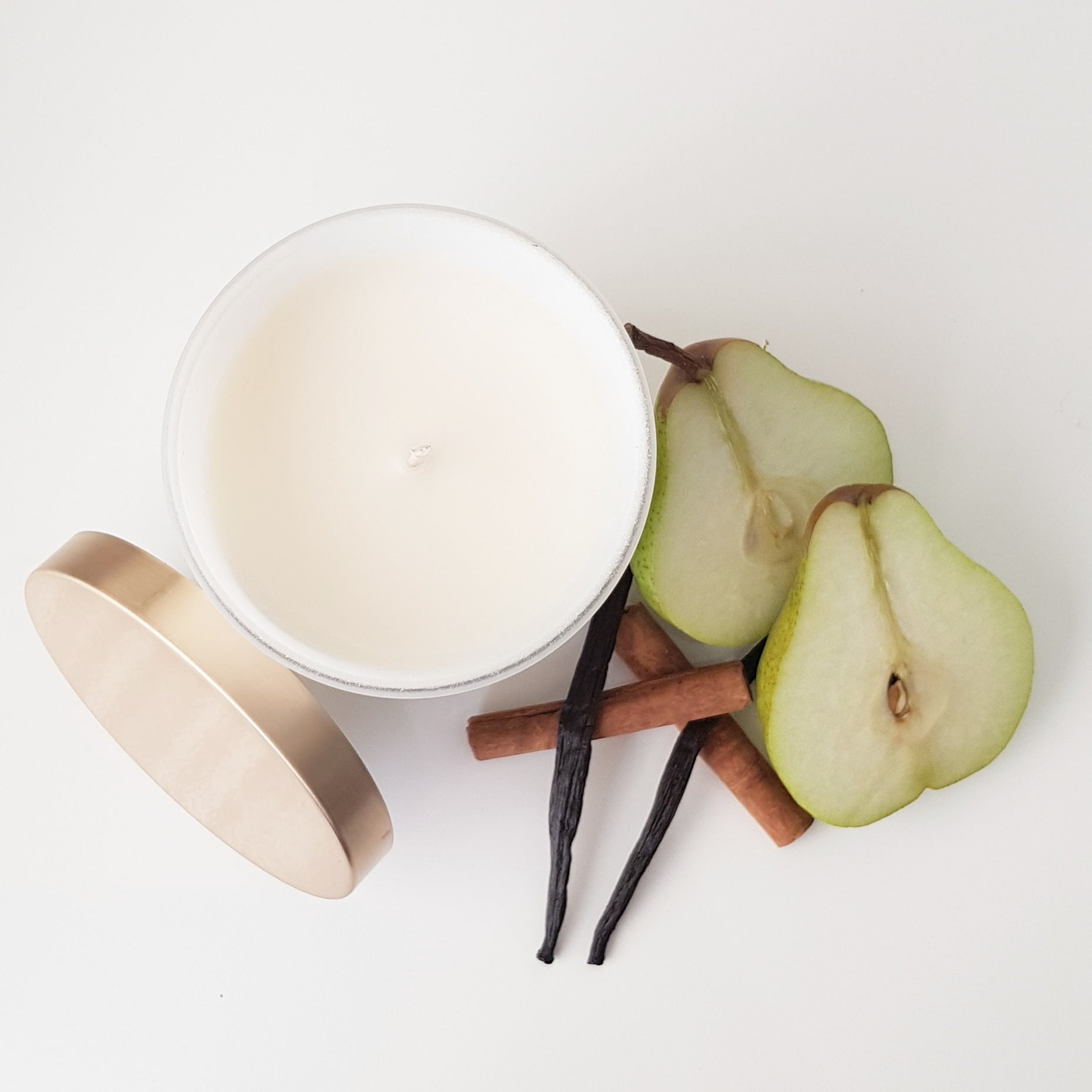 Natural Coconut Soy Candle | Matt White Gold Lid | Pear, Cinnamon, Vanilla