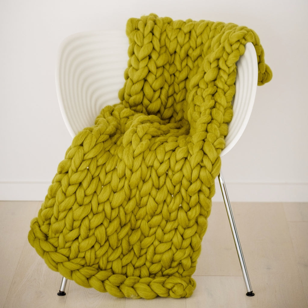 CHUNKY KNIT ARM KNITTING KIT | Giant Fat Moss Green Wool Roving Tops for Arm Knitting | HEART from HAZEL