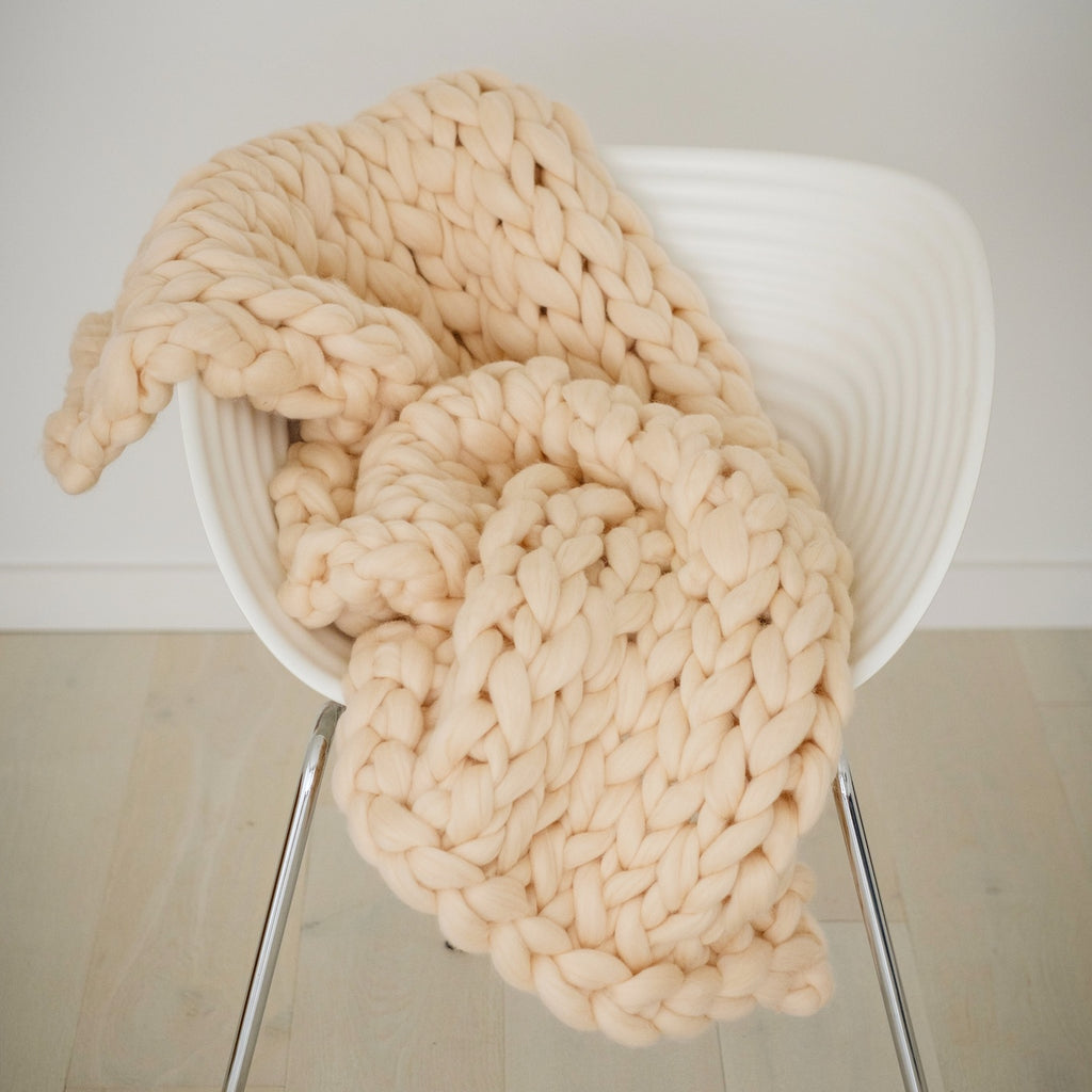 CHUNKY KNIT ARM KNITTING KIT | Giant Fat Apricot Wool Roving Tops for Arm Knitting | HEART from HAZEL