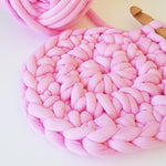 Light Pink Tube Yarn Round Rug DIY Kit | Available online at HEART from HAZEL