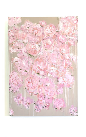 """Flower Rain"", Size 100 X 70 CM, Acrylic on Canvas - Abstract My Day"
