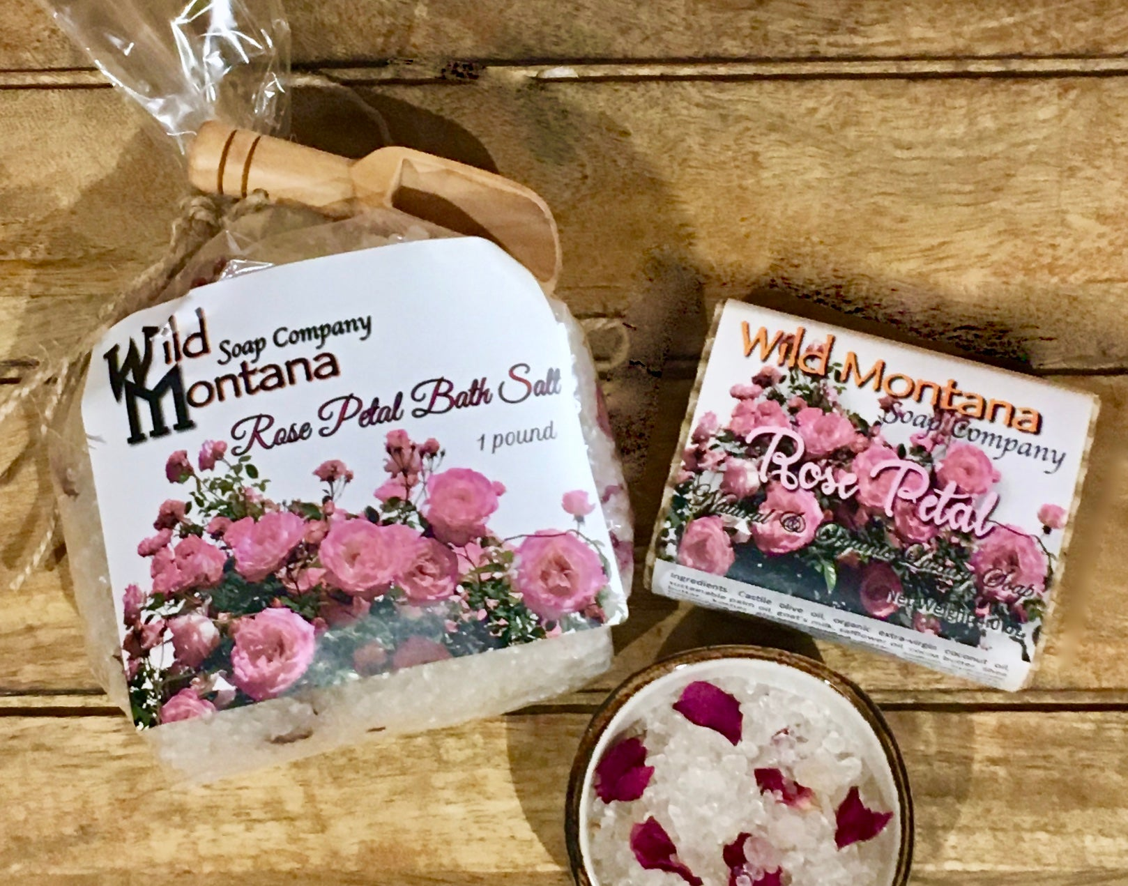 Rose Petal Bath Salts & Rose Petal Soap Gift Set - Wild Montana Soap Company