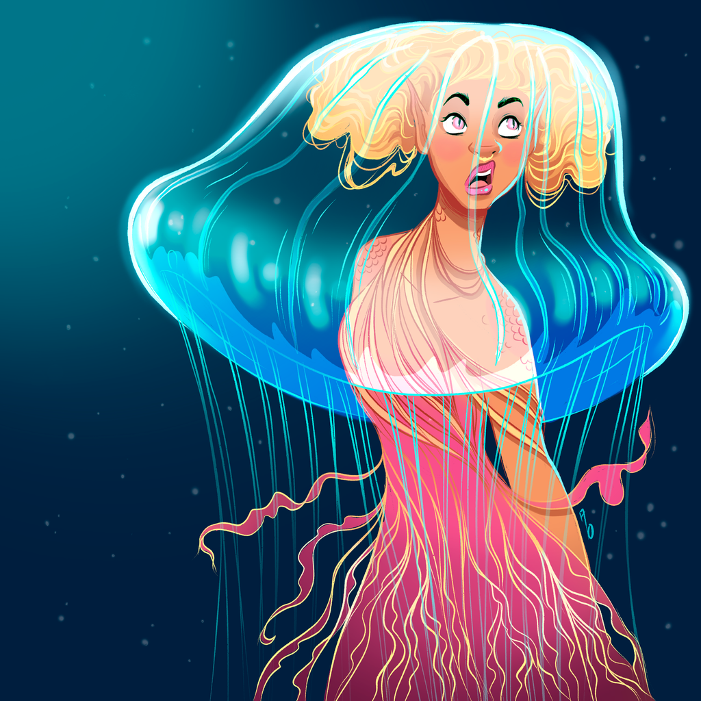 Jellyfish Mermaid - Square Art Print