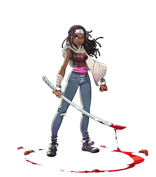 Michonne Illustrated Pin Up