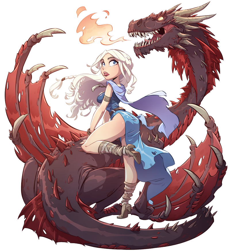 Daenerys and Dragon Illustrated Pin Up