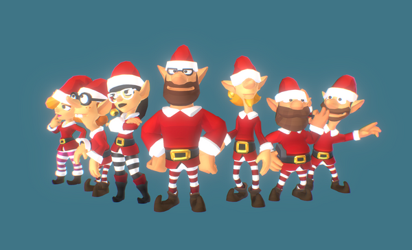 Santa's Elves Low Poly 3D