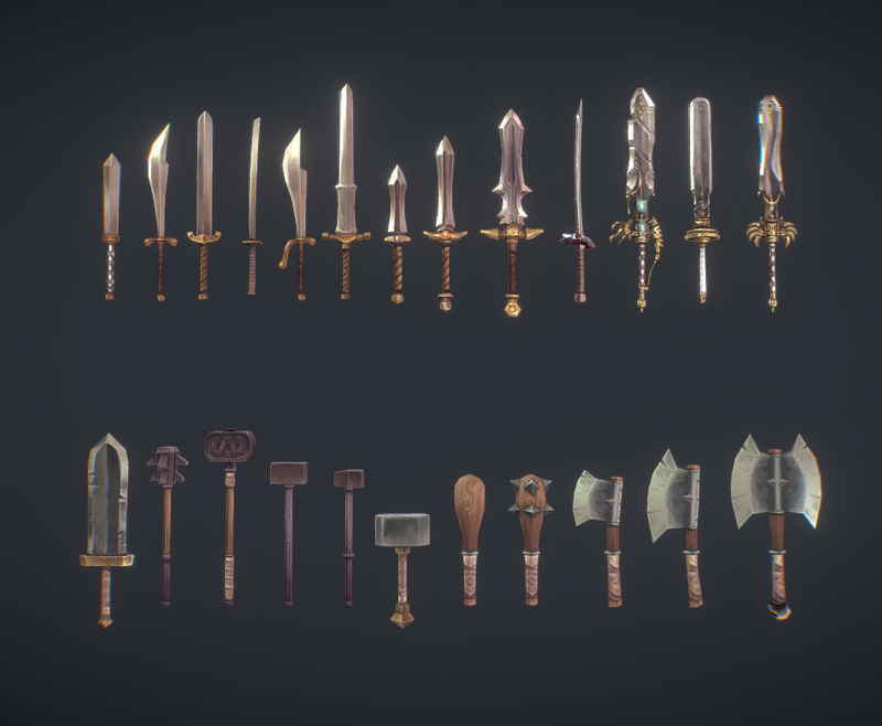 Hand Painted Modular Weapon Set