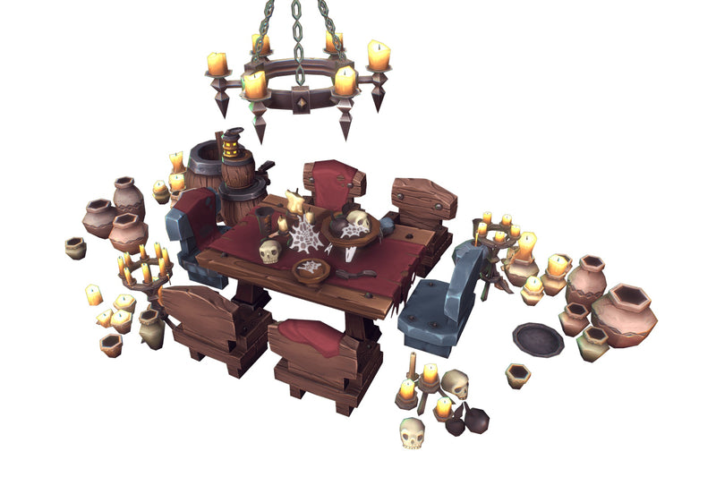 Dungeon Entourage Set - Low Poly