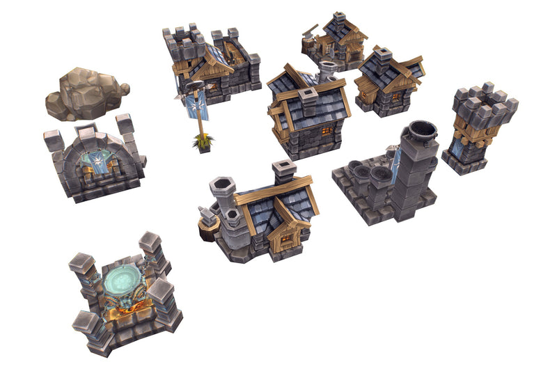 RTS Human Buildings - Low Poly Hand Painted