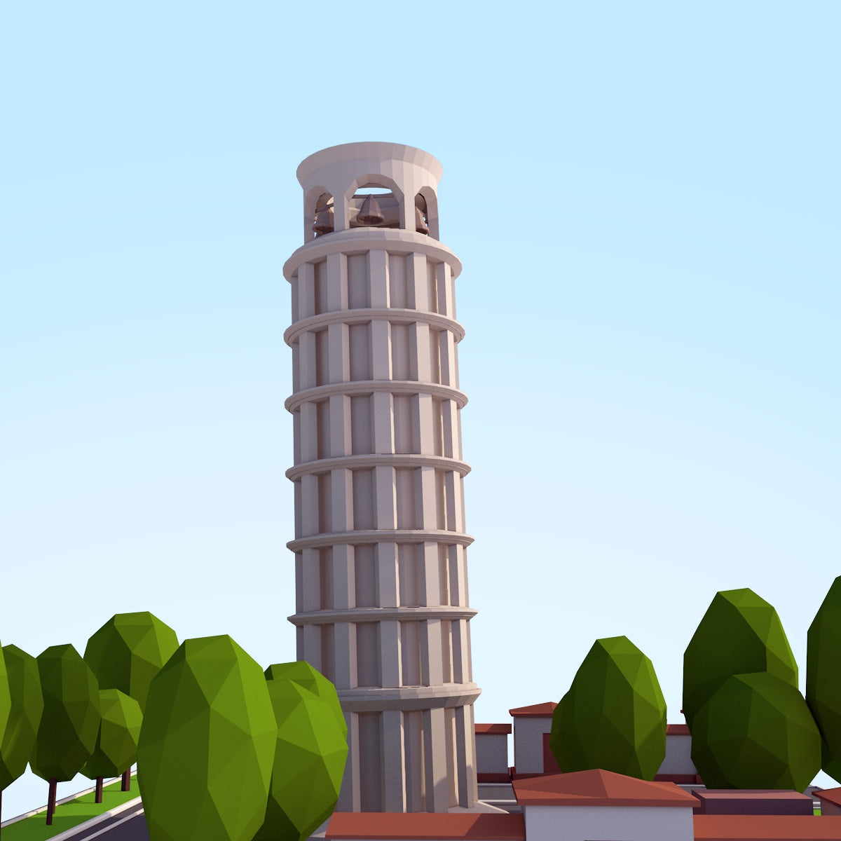 Buildings - Low Poly Tower Of Pisa - Anton Moek