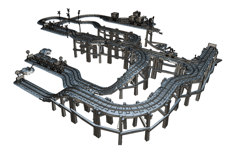 Rail Modular Set - Low Poly