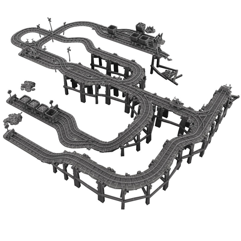 Buildings - Modular Rail Set - Low Poly 3D Model