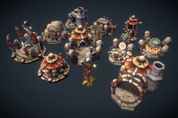 Buildings - Orc RTS Buildings Low Poly