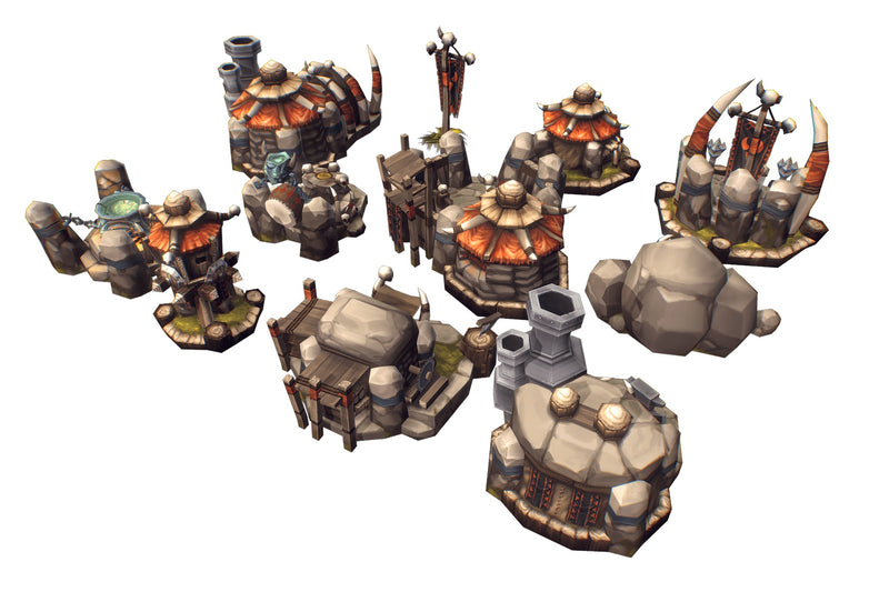 RTS Orc Buildings - Low Poly Hand Painted