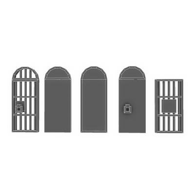 Buildings - Pixel Door Set - Low Poly 3D Model