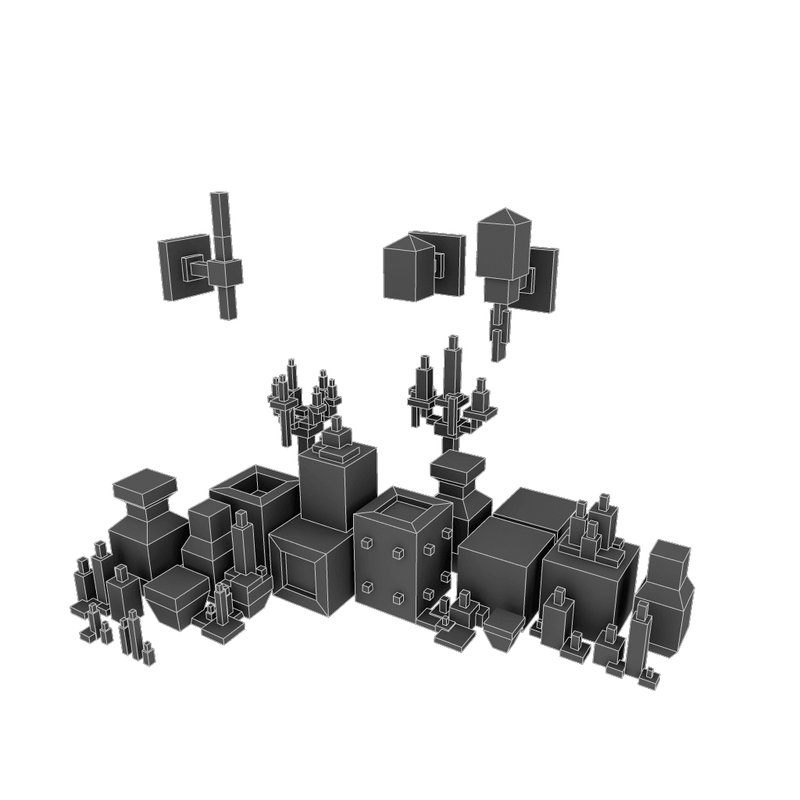 Buildings - Pixel Dungeon Deco Set - Low Poly 3D Model