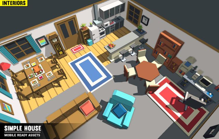 Buildings - Simple House Interiors - Cartoon Assets - Synty