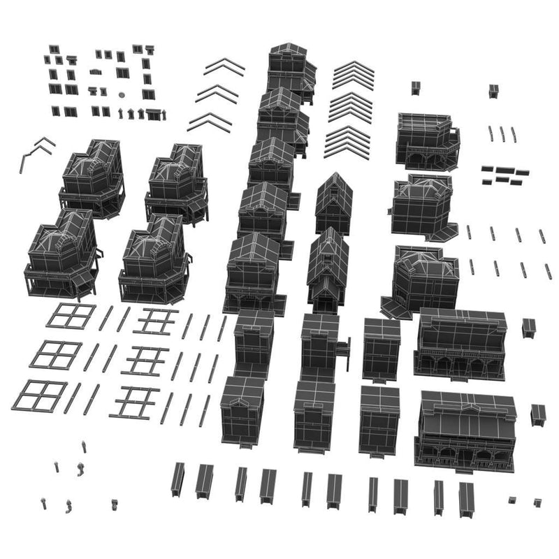 Buildings - Western Pixel Town  - Low Poly 3D Model