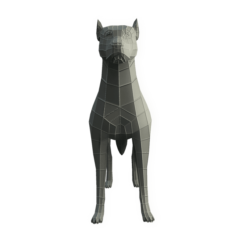 Character - Base Mesh Dog - Low Poly 3D Model