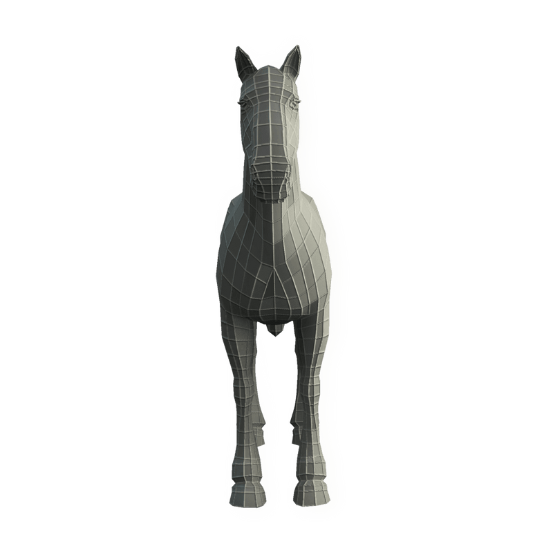 Character - Base Mesh Horse - Low Poly 3D Model