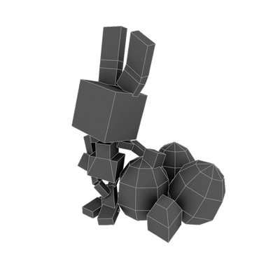 Character - Pixel Rabbit - Low Poly 3D Model