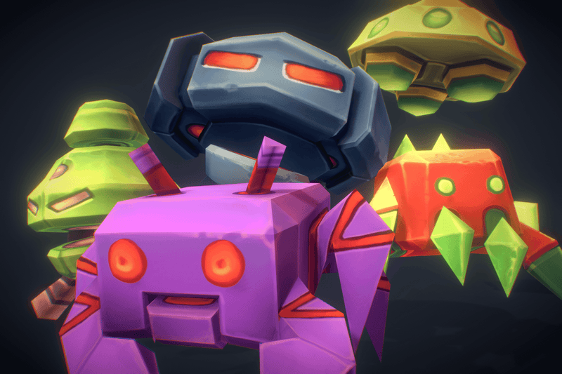 Space Invaders - Low Poly Hand Painted