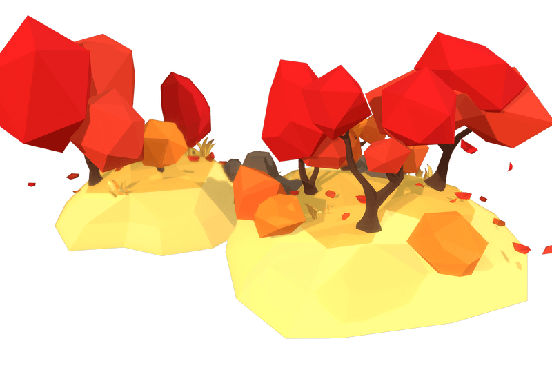 Autumn Trees Set - Faceted Style