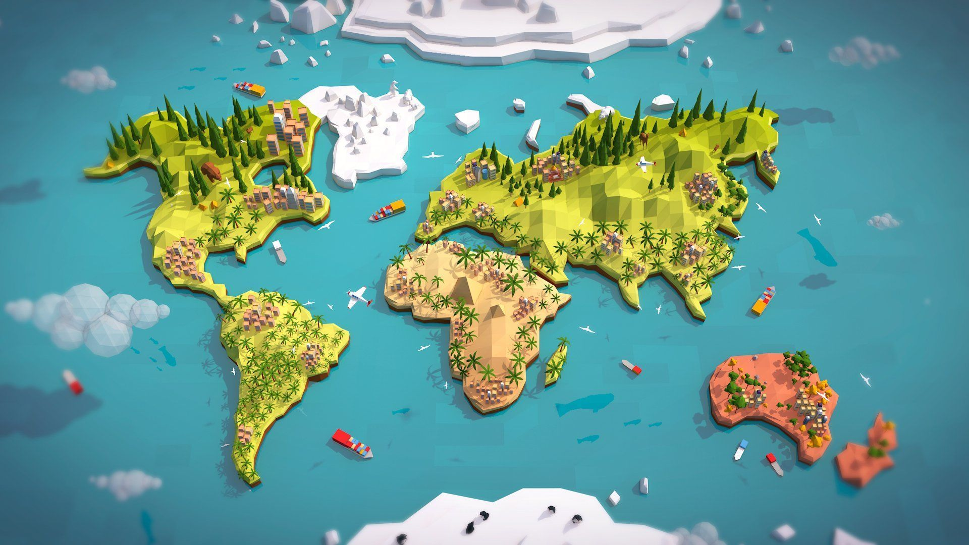 Cartoon low poly earth world map anton moek bitgem environments cartoon low poly earth world map gumiabroncs Gallery