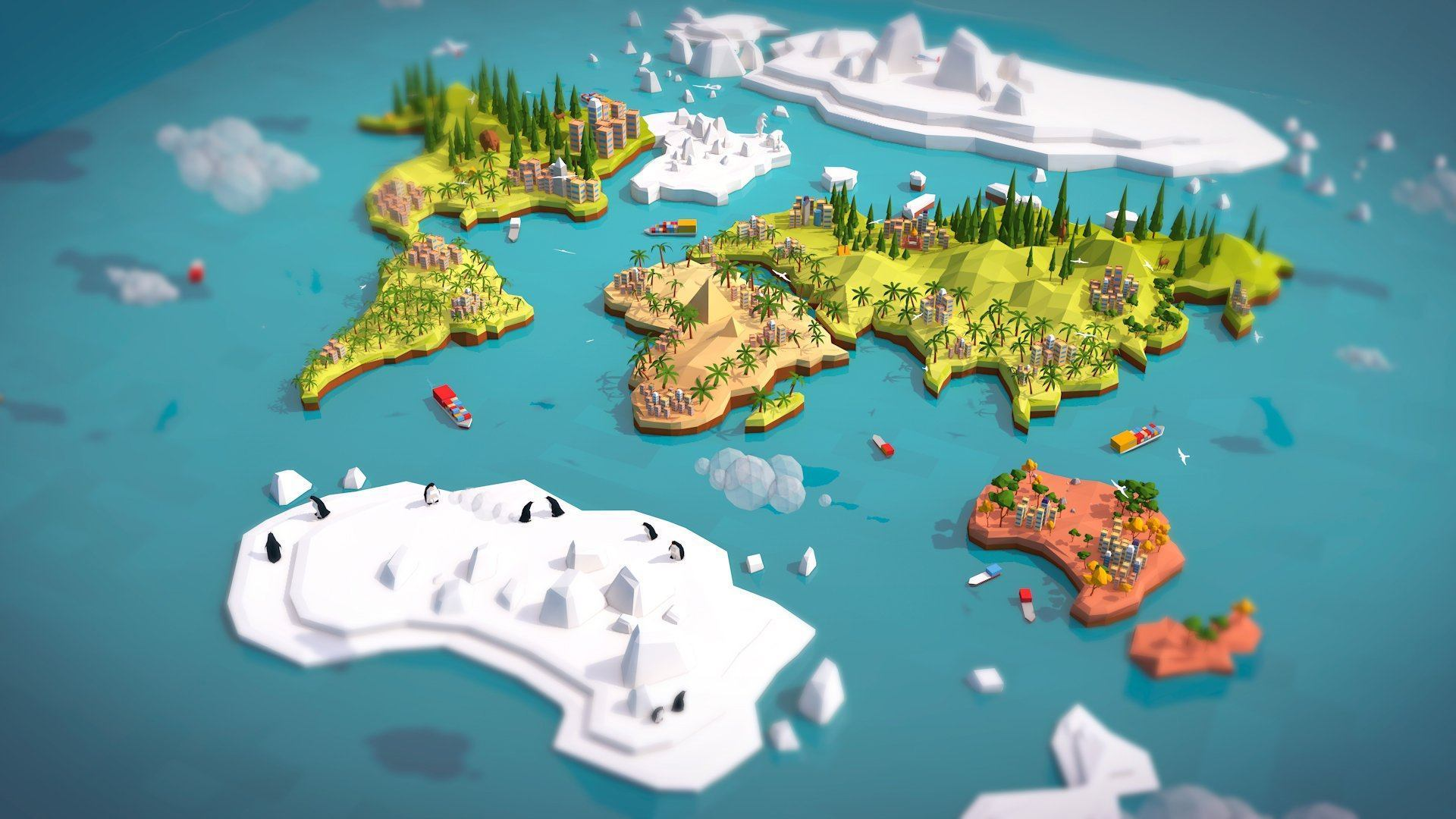 Environments   Cartoon Low Poly Earth World Map