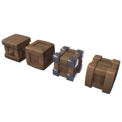 Environments - Cube World Wood Boxes - Smashy Craft Series