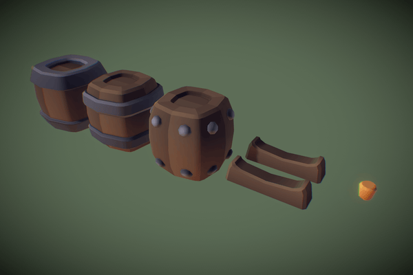Environments - Cube World Wooden Barrels - Proto Series