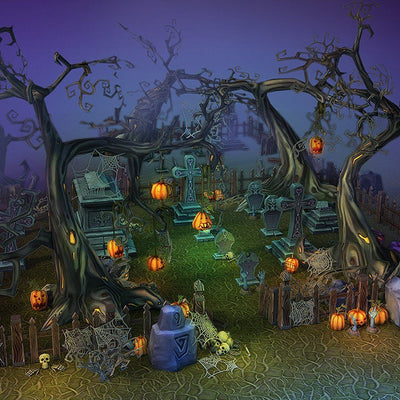 Environments - Halloween Cemetery Set - 3dfancy