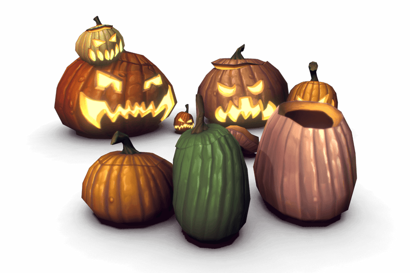 Halloween Pumpkins - Low Poly