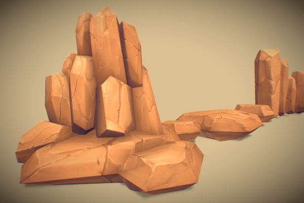 Props - Low Poly Rock Formation 01 - Hand Painted Series