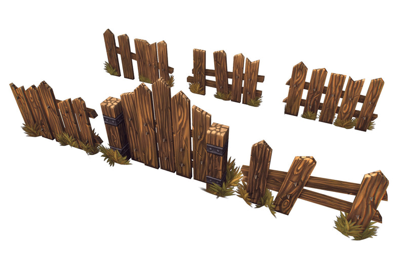 Wooden Fence Set 03 - Low Poly Hand Painted