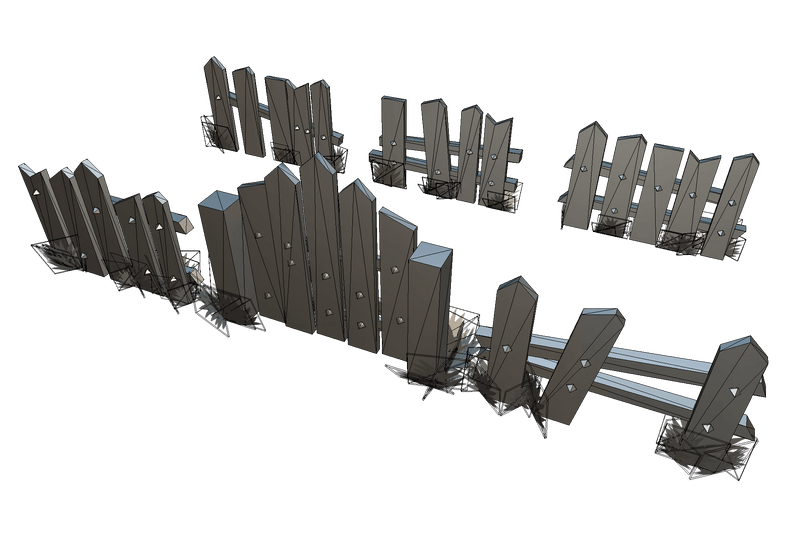 Props - Wooden Fence Set 03 - Low Poly Hand Painted