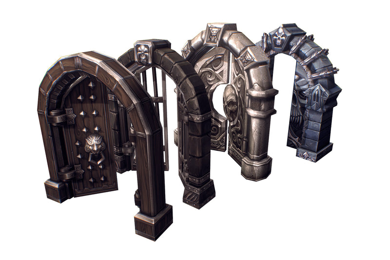 Dungeon Door Set - Low Poly