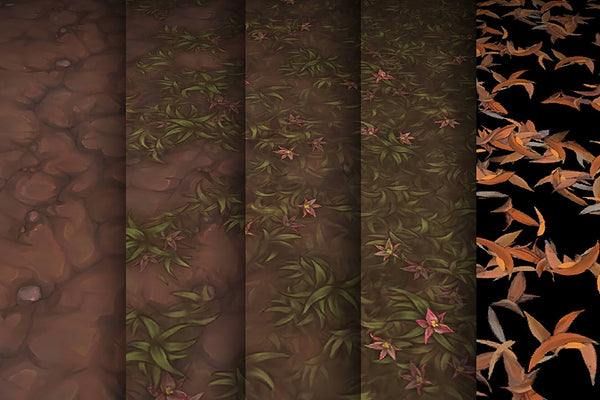 Textures - Grass Dirt Leaves - Hand Painted Texture Pack 12