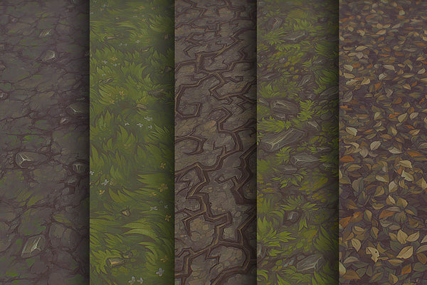 Textures - Grass Dirt Leaves - Hand Painted Texture Pack 21