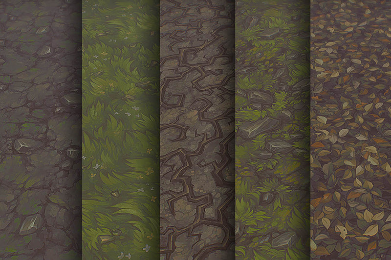 Grass Dirt Leaves - Hand Painted Texture Pack 21