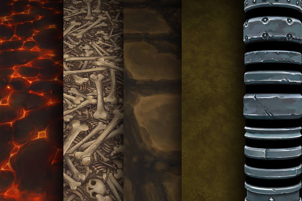 Textures - Grass Lava Stone Bones - Hand Painted Texture Pack 04