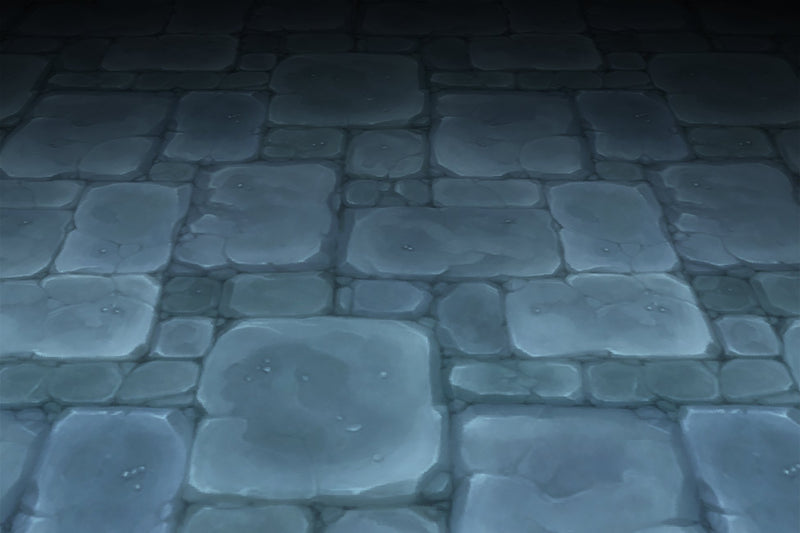 Stone Floor Blue Old Dungeon Hand Painted Texture v3