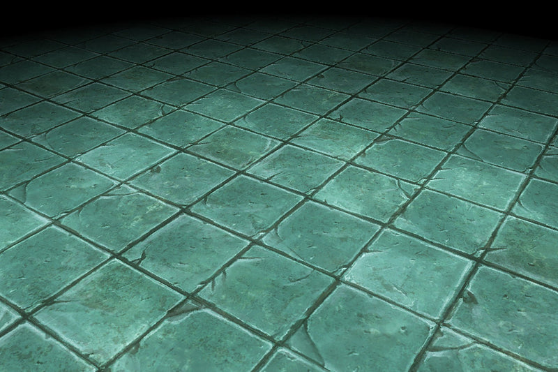 Stone Floor Green Tiles Hand Painted Texture