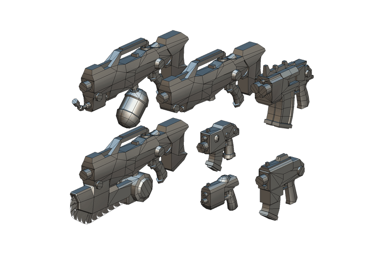 Low Poly Gun Set 01