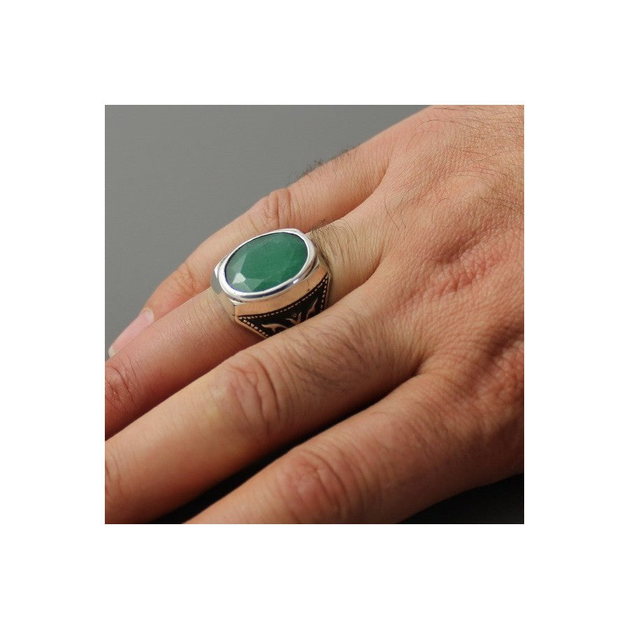 Green Emerald 925s Silver Signet Ring