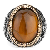 Vav Ring in 925s Silver with Tiger Eye Stone