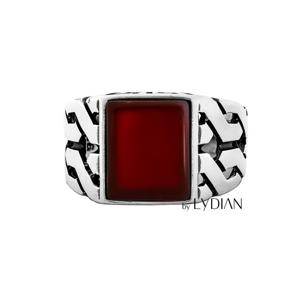 925s Silver Men's Ring with Agate Stone
