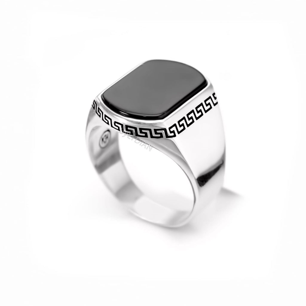 Onyx Stone Classic Design 925 Sterling Silver Men Ring