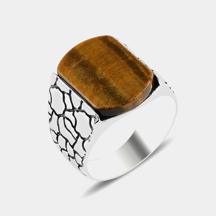 925s Silver Men's Ring with Tiger Eye