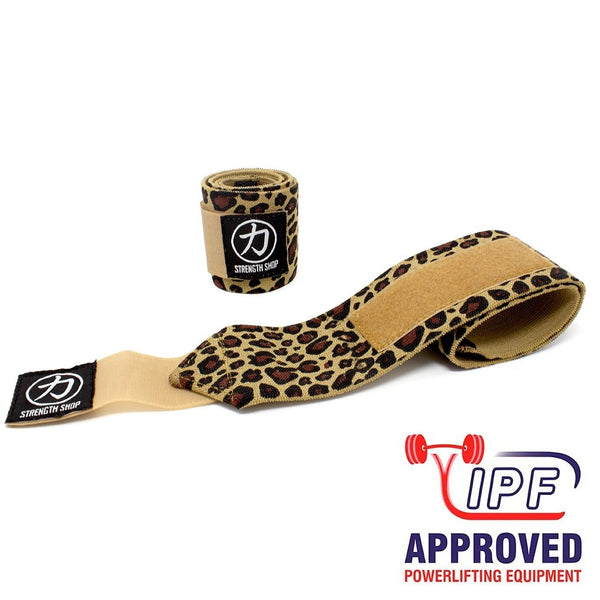 Strength Shop Stiff Wrist Wraps - Leopard - IPF Approved - Strength Shop USA